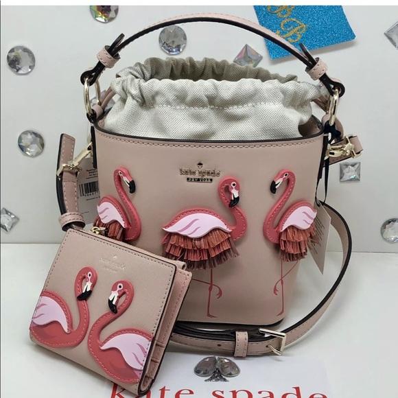 kate spade Handbags - Kate spade flamingo bucket bag+bifold wallet set